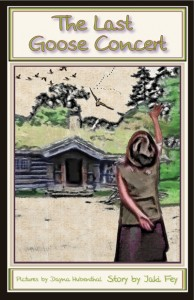 Print book cover; an eight year old girl waving goodby to geese and she is standing in front of an old Danish-style house