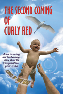 Red-headed baby in cowboy boots is tossed in the air. Arms are outstretched to catch him; A huge white bird flies overhead